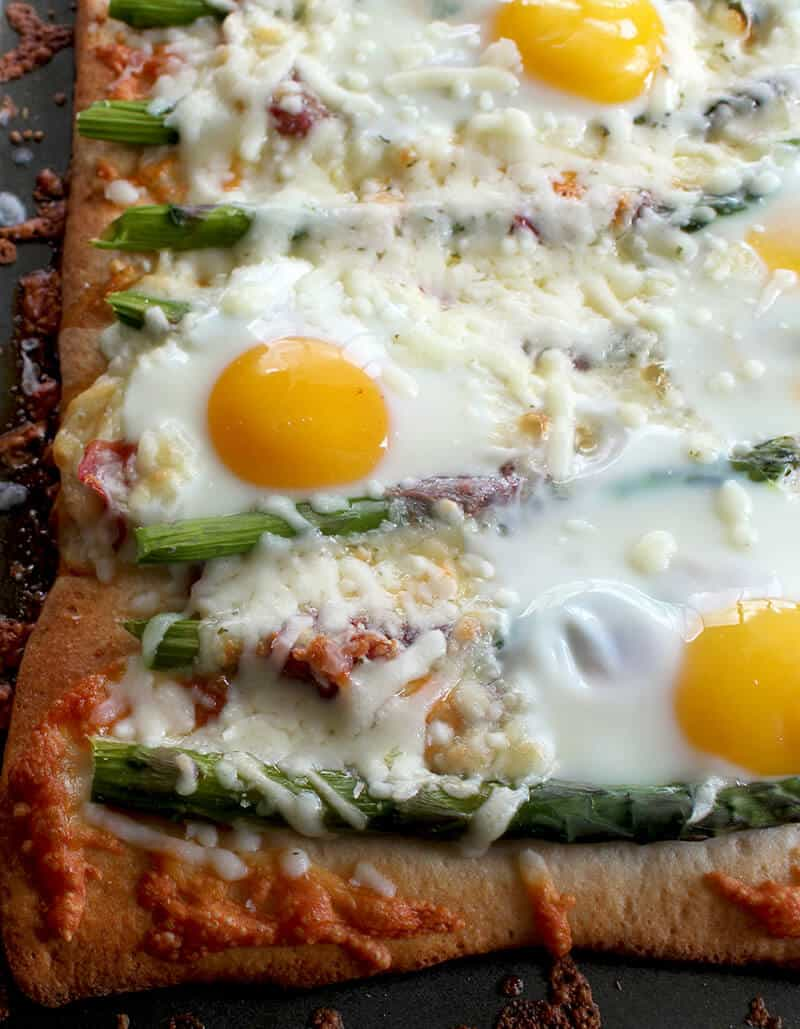 Breakfast Pizza with Asparagus, Capicollo and Eggs sprinkled with Cheese