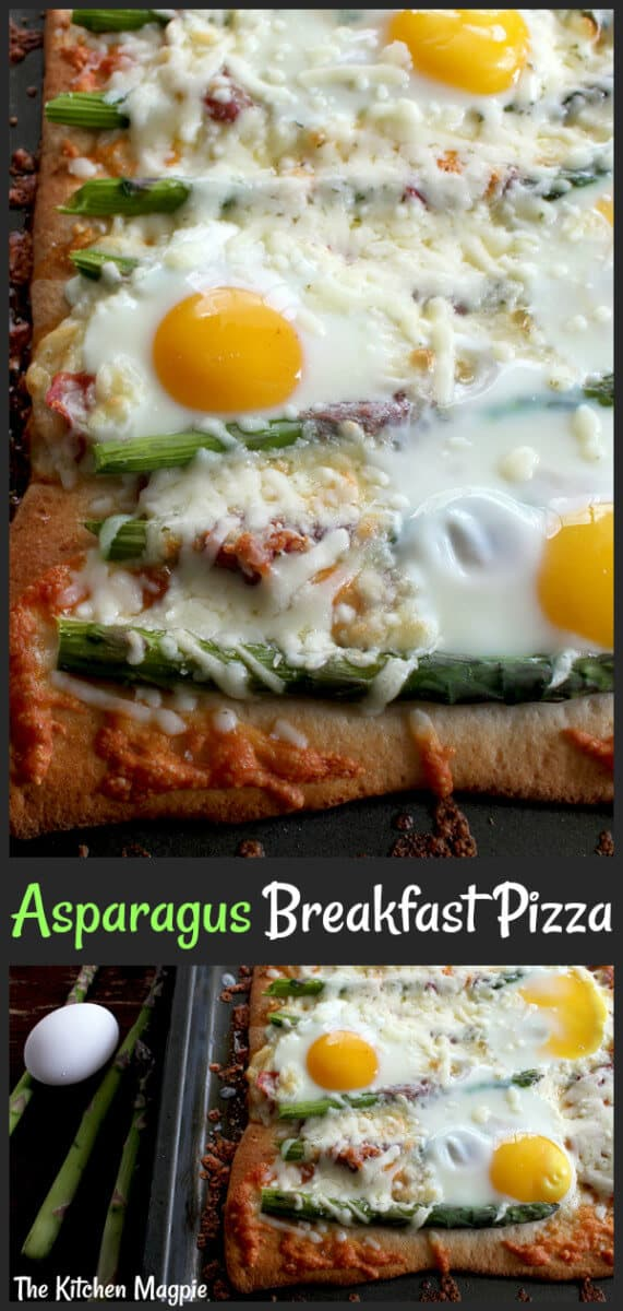 Pizza for breakfast? Yes please! Asparagus, capicollo and eggs top this amazing breakfast pizza. Breakfast, lunch or dinner,this is one fabulous meal! #pizza #eggs #asparagus