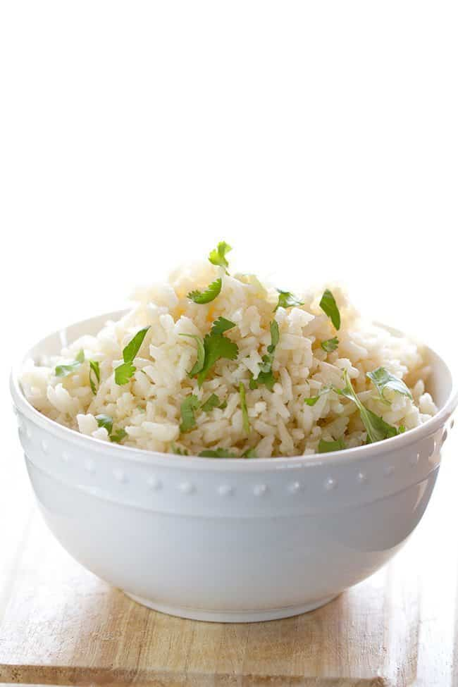 Close up of Cilantro Lime Rice in a White Bowl