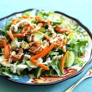 shrimp salad with BBQ curry and blue cheese crumbles
