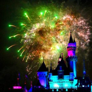 Disneyland at night with the Colorful Fireworks Display