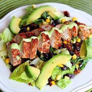 Copycat Earl's Santa Fe Salad - sliced chicken with tex mex spice and creamy avocado dressing