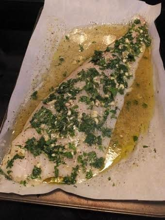 Fish fillet with Garlic & Herb in a baking tray