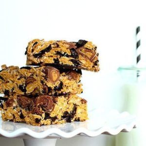 Stack of Oreo & PB Cup Golden Graham Bars in White Cake Holder