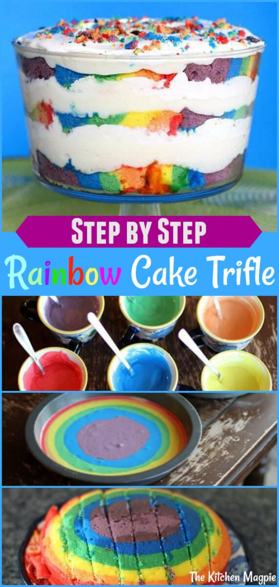 This gorgeous rainbow trifle is easy to make and incredibly delicious. See the step by step photo instructions in the post on how to make the cake. #rainbow #cake #trifle