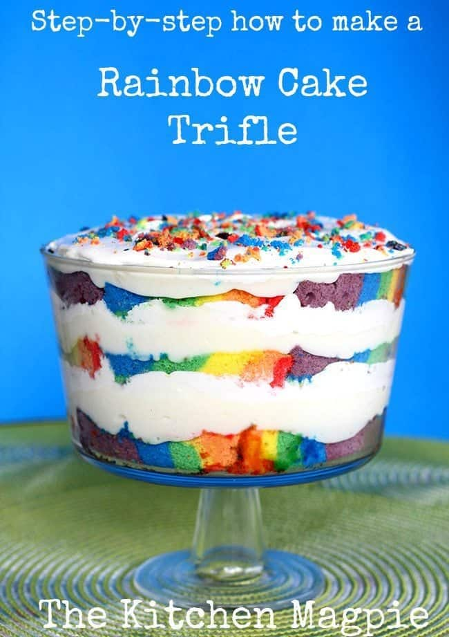 Step by Step how to make a Beautiful Rainbow Cake Trifle! #dessert #cake #trifle #rainbow #recipe #party #partyfood