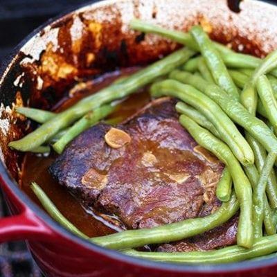 One Pot Camping Wasabi Plum Roast Beef & Green Beans