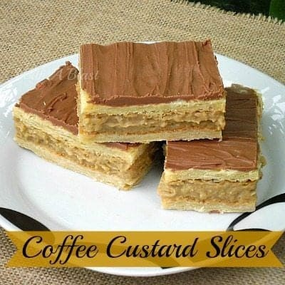 Coffee Custard Slices in a White Plate