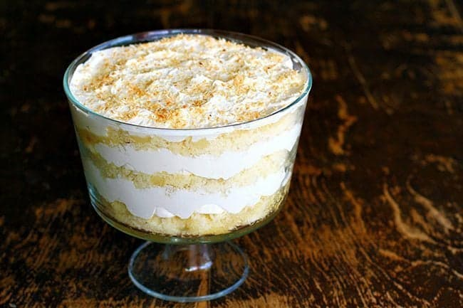 close up Malibu Rum Cake Trifle
