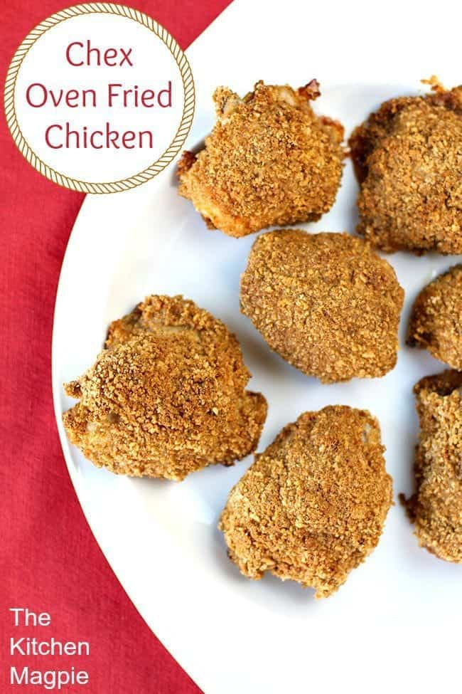 Crispy oven friend chicken using Chex as a coating, gluten free never tasted so good!