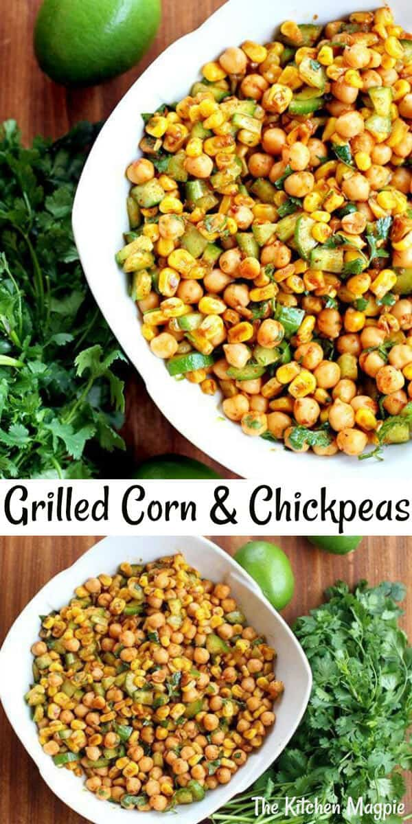 Smokey grilled corn takes this chickpea salad from great to spectacular and the homemade dressing is only 5 ingredients! #corn #salad #chickpea #texmex