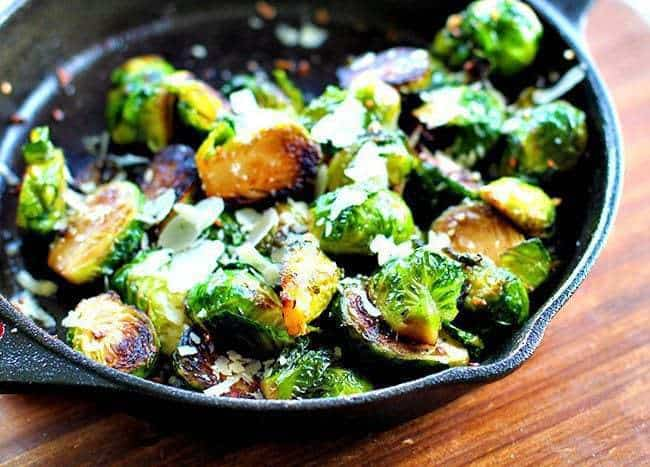 Roasted Garlic Parmesan Brussels Sprouts in Skillet