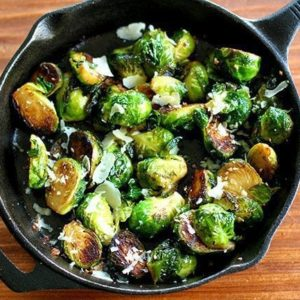 Close up of Roasted Garlic Parmesan Brussels Sprouts in Skillet