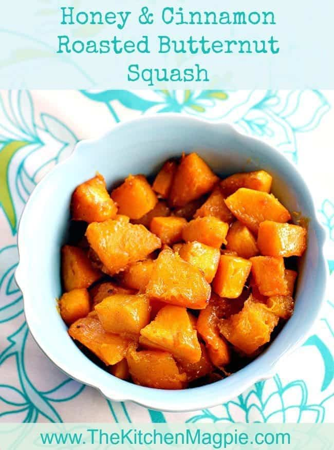 To to make delicious Honey and Cinnamon Roasted Butternut Squash in your oven! The honey and cinnamon are the perfect pairing for this sweet squash. #butternutsquash #honey