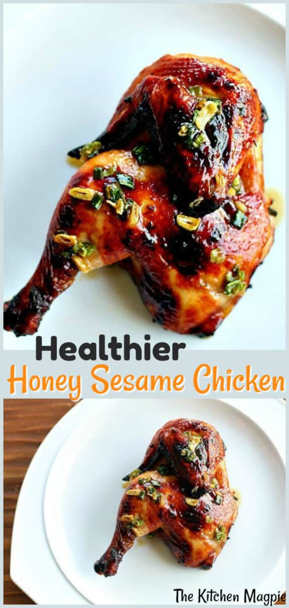 Love honey sesame chicken but not the calories? Learn how to make healthier honey sesame chicken on the BBQ at home. This recipe is so much better than the takeout sesame chicken! #chicken #healthy #recipe #sesame #honey