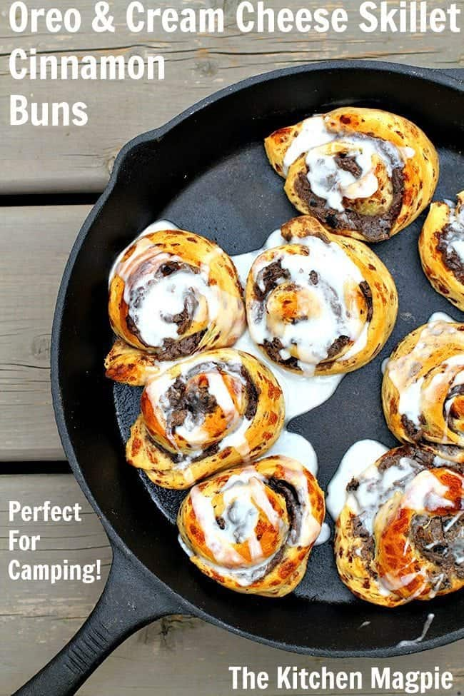 A fabulously easy dessert for camping! (or anytime!) Cinnamon buns stuffed with cream cheese and Oreo cookies! #camping #rv #dessert