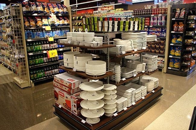 area of small cake platters inside the store