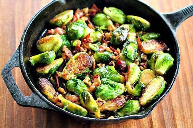 walnuthoneybrusselsprouts1m Bacon, Walnut & Honey Brussels Sprouts