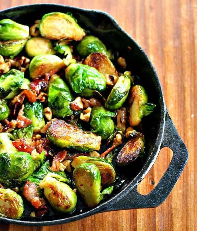 walnuthoneybrusselsproutsmm1 Bacon, Walnut & Honey Brussels Sprouts