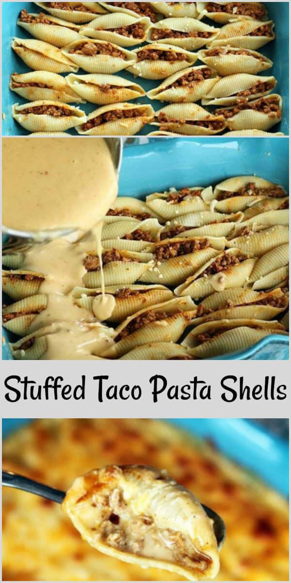 These Stuffed Taco Pasta Shells are pasta shells stuffed with taco seasoned meat and smothered in cheese sauce!