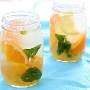 Two Jars of Sparkling Citrus Bourbon Lemonade