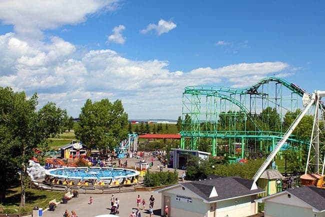 view of the whole park with the rides