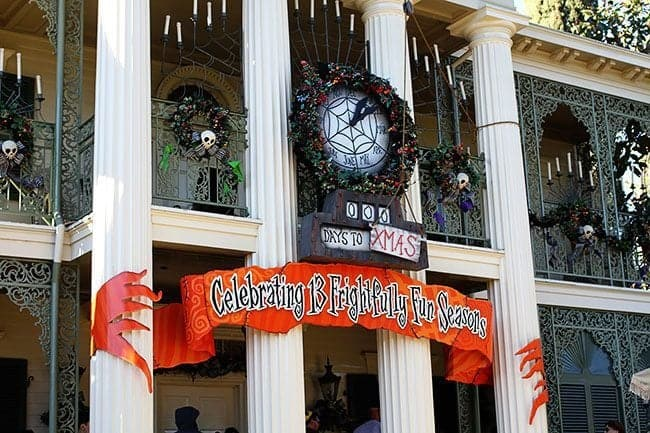 Disney Haunted Mansion creepy view during Christmas season