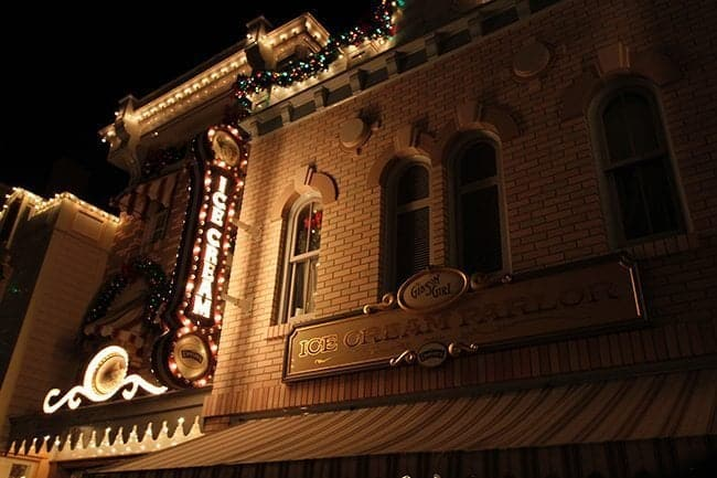 Ice cream parlor at the Main Street during Christmas At Disneyland