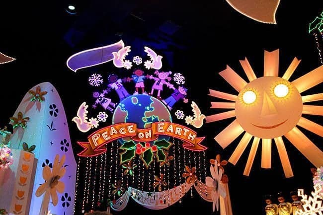 inside the It's a Small World Ride are colorful images