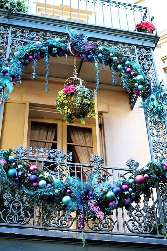 The New Orleans Square During Christmas At Disneyland with Color Blue themed Decors