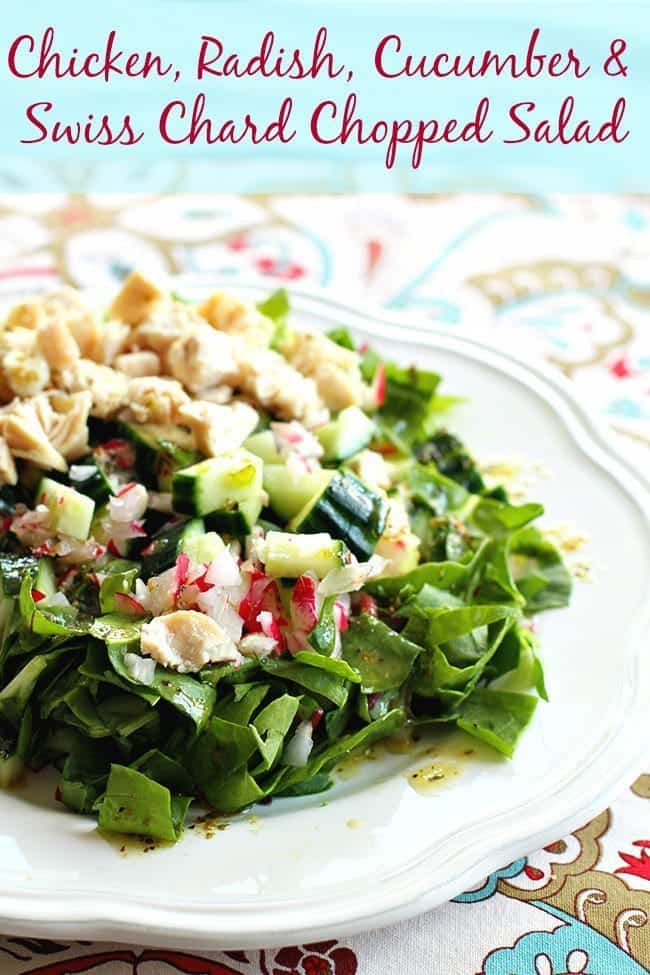 Chicken, Radish and Cucumber Swiss Chard Chopped Salad | From @kitchenmagpie
