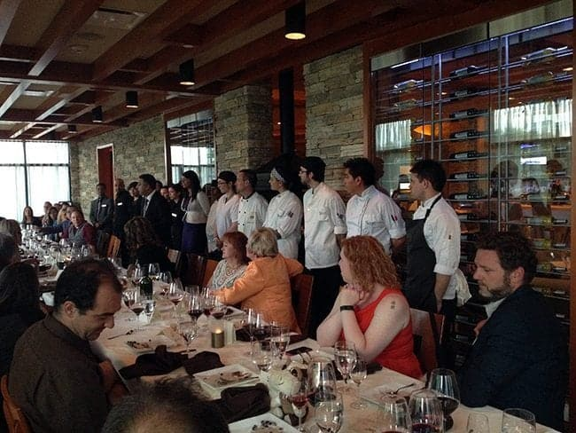 Chef's team came out in the area where the long table of guests was located