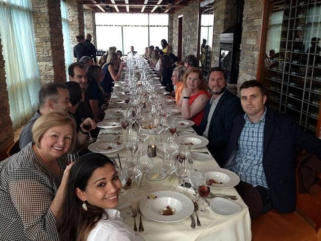Long table with the bloggers, mainstream media and celeb guest sitting