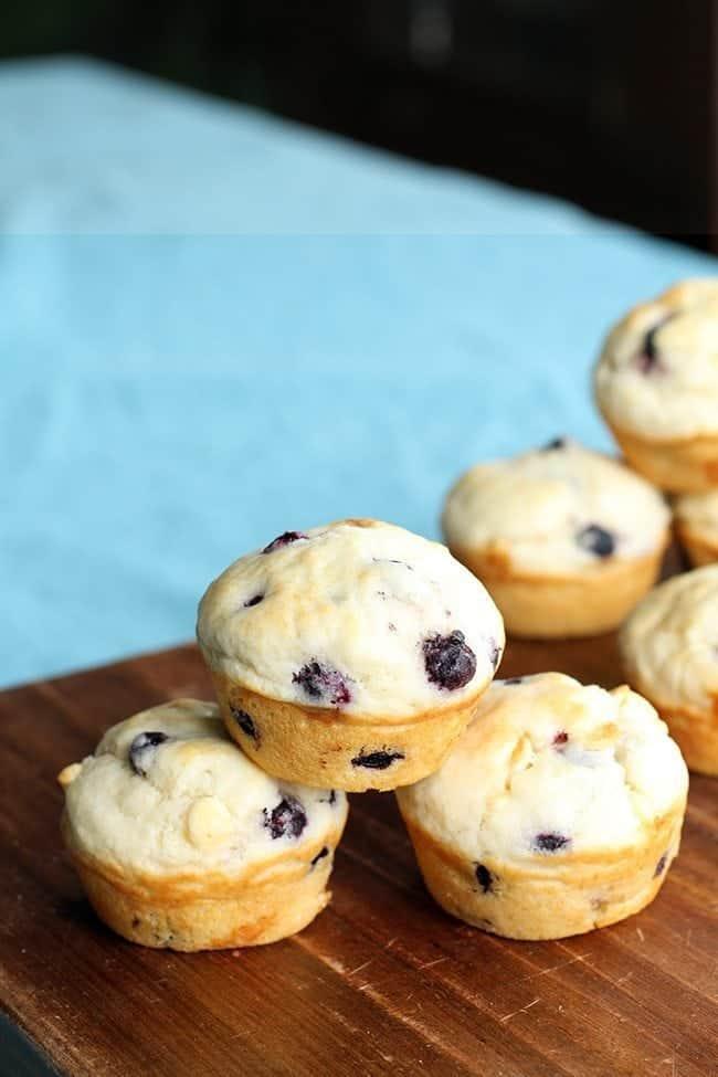 close up of White Chocolate Saskatoon Muffins