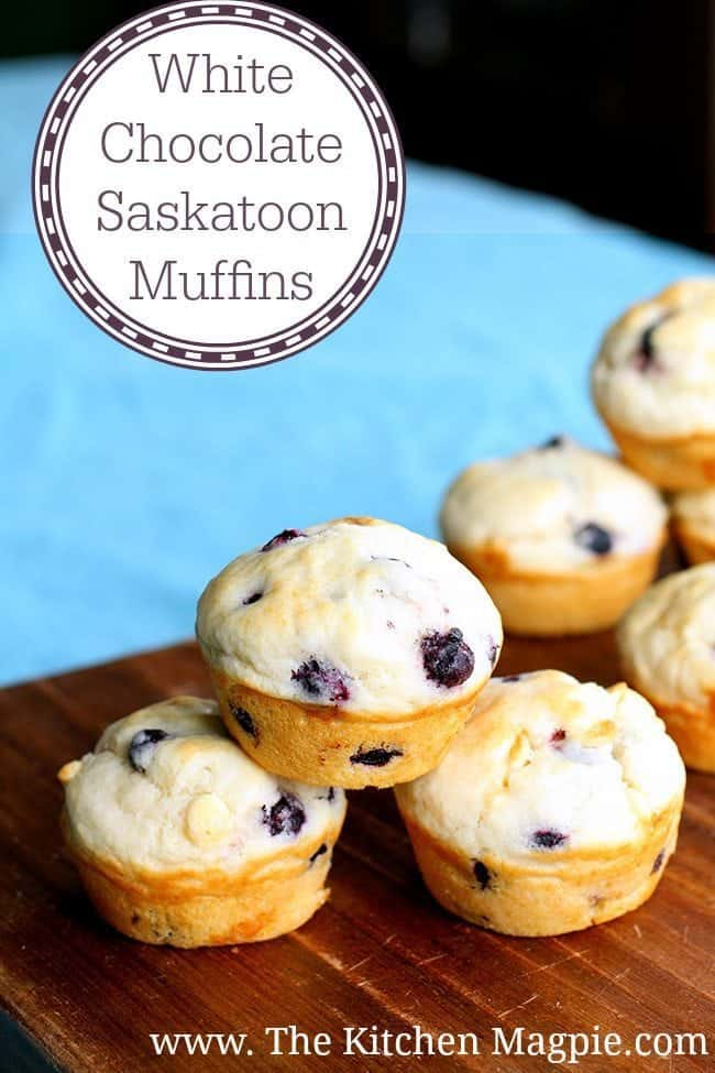 These White Chocolate Saskatoon Muffins are perfect for using up your summertime berries! My Us readers can use blueberries! #muffins #whitechocolate
