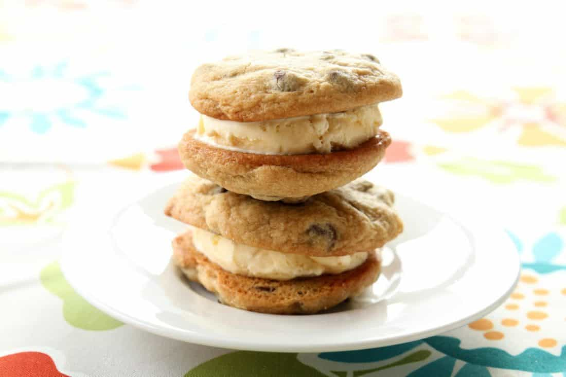 Ice Cream Sandwich Chocolate Chip Cookies in a white plate