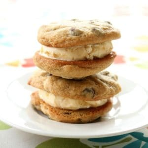 close up of Ice Cream Sandwich Chocolate Chip Cookies in a white plate