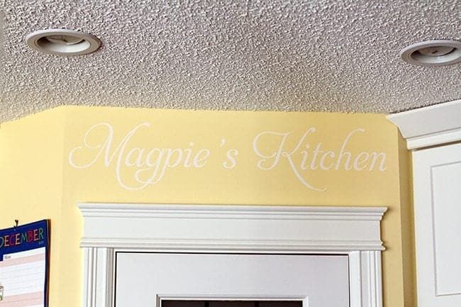 Magpie's Kitchen Decor Lettering on Kitchen Wall