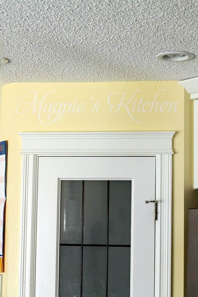 Close up of Magpie's Kitchen Decor Lettering on Kitchen Wall