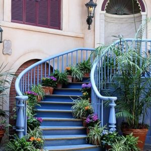 Court des Anges at Disneyland - blue painted stair with pot of plants in each step