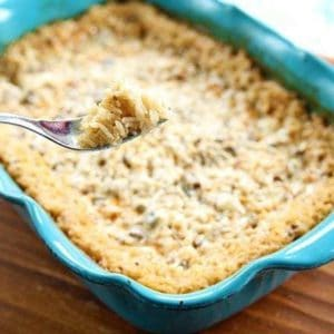 Buttery Mushroom Rice in a blue Pyrex baking pan