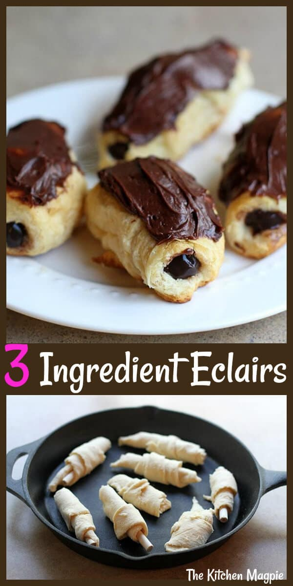 Crazy easy and delicious Three Ingredient Cheater Chocolate Eclairs, perfect for camping or when you need a fast and fun treat for the kids. #camping #dessert #eclairs #chocolate