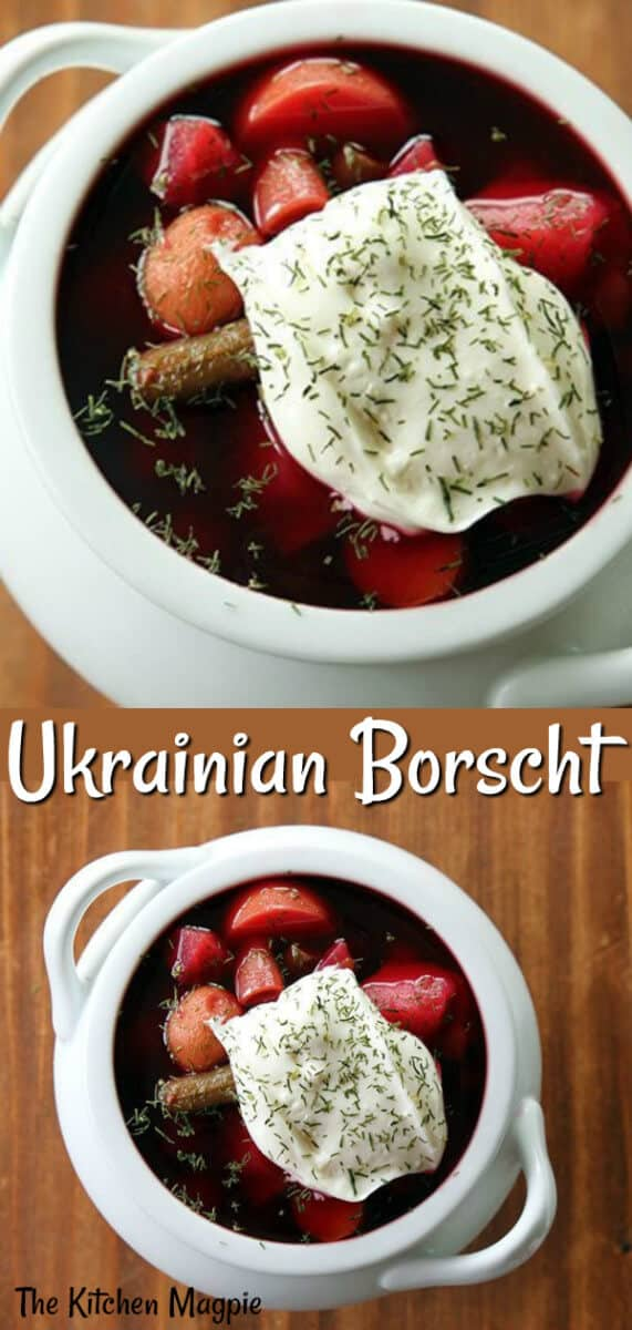 How To Make Ukrainian Borscht, the delicious classic Ukrainian  beet soup recipe. #beets #soup #healthy