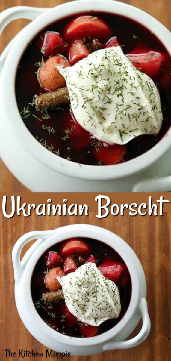 How To Make Ukrainian Borscht, the delicious classic Ukrainian beet soup recipe. #beets #soup #healthy