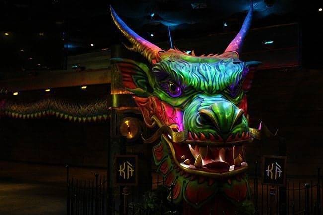 Image of colorful dragon in the Cirque de Soleil show Ka