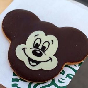 chocolate Mickey shaped cookie at Starbucks Disney