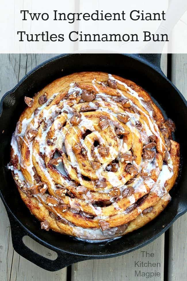 Two Ingredient Giant Turtles Cinnamon Bun from @kitchenmagpie
