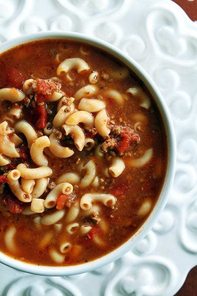 Classic Beef & Tomato Macaroni Soup from @kitchenmagpie
