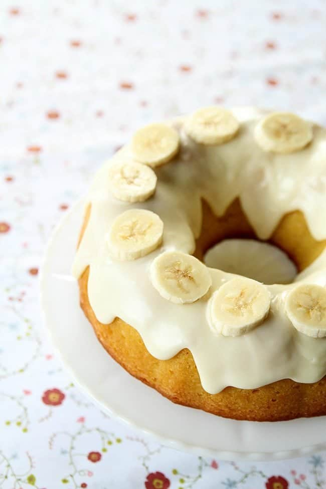 Banana Pudding Cake With Cream Cheese Glaze from @kitchenmagpie