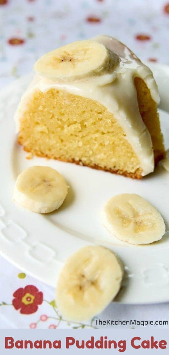 It's banana cream pie baked into a cake! Add in a creamy cheesecake glaze and this is one over the top banana-lovers dream! #banana #cake #pudding